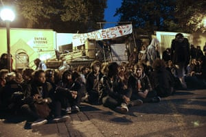 France Strikes: High school students block the entrance to a school in Paris