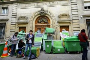 France Strikes: High school striking students block Lycee Turgot entrance