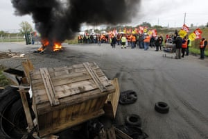 France Strikes: Workers of Total and the SFDM Society, and SNCF railway workers