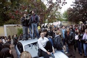 France Strikes: Abbygaelle Villeret (L), one of the movement leaders, strike school France