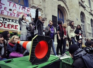 France Strikes: High school students block the entrance to the Voltaire school in Paris