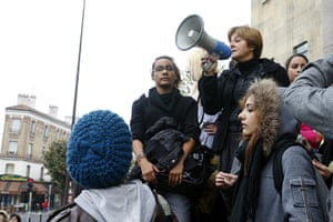 France Strikes: Montreuil's mayor Dominique Voynet speaks at the Jean Jaures high school