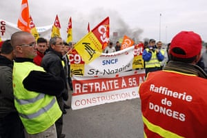 France Strikes: Workers of Total and the SFDM Society, and SNCF railway workers strike