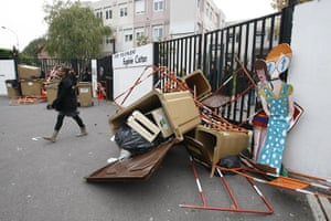 France Strikes: A student leaves her high school in Montreuil, outside Paris