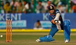 India's Tendulkar hits a ball against South Africa in Gwalior