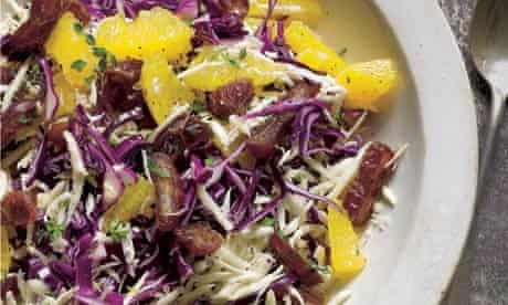 Red cabbage, orange and date salad