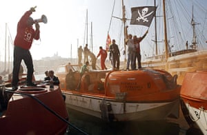France Strike Update: French striking sailors demonstrate on a emergency boat in Marseille