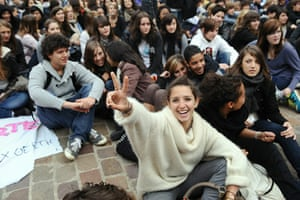 France Strike Update: High school students sit in front of the administration building Toulouse