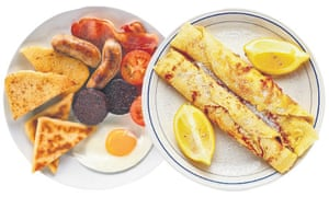 A full English breakfast and some lemon pancakes