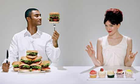 Man with burgers, woman with cupcakes.