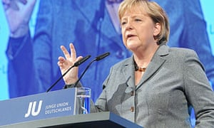 German chancellor Angela Merkel addresses young members of Christian Democratic Union party
