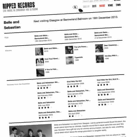 Screenshot of the Belle and Sebastian page on the Ripped Records website