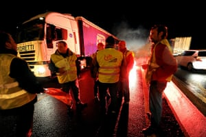 strikes in france: truck drivers protest