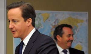 David Cameron and Liam Fox at the Permanent Joint Headquarters in London on 19 October 2010.