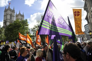 cuts protest in london: Members of various unions wave flags