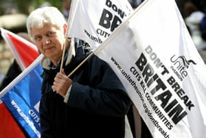 cuts protest in london: Unions demonstrate in London