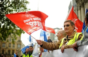 cuts protest in london: Demonstrators from the Unite the union