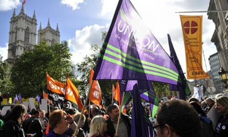 Protests against the government's planend cuts in Westminster, central London, on 19 October 2010.