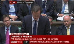 David Cameron announces the strategic defence review in the Commons on 19 October 2010.