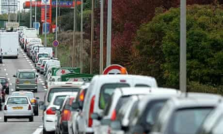 Drivers queue for petrol on the ring road in Nantes