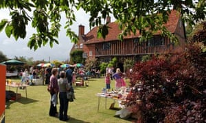 Families at a traditional English village garden fete