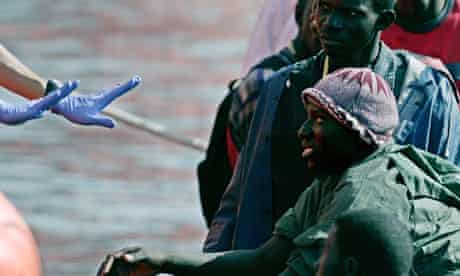 African migrants wait to come ashore in Tenerife, 2006