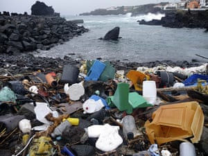 UNEP Report: littered with plastic garbage coastal area of the Azores Islands