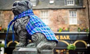 Greyfriars Bobby statue in tartan for Kids for Kilts Day