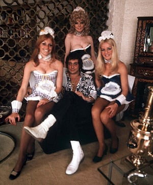 Bob Guccione Dies: Bob Guccione with women dressed in french maid outfits