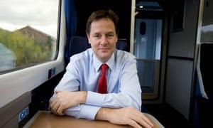 Nick Clegg on a train