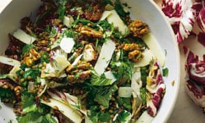 Lentils, radicchio and walnuts with manuka honey