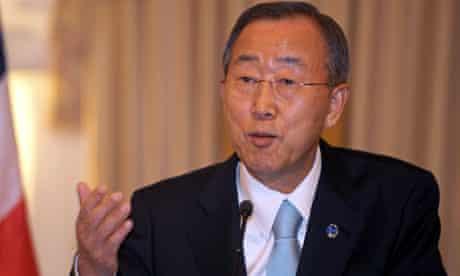 UN chief Ban Ki-moon at a news conference in Bangkok