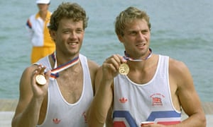 Andy Holmes, left, and Sir Steve Redgrave, show off their gold medals at the Seoul Olympics in 1988