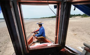 Amazonia drought: dried river bed of the Rio Negro in northern Brazil
