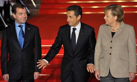 Dmitry Medvedev, Nicolas Sarkozy and Angela Merkel