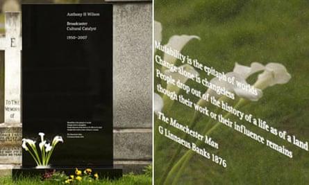 The gravestone of Tony Wilson