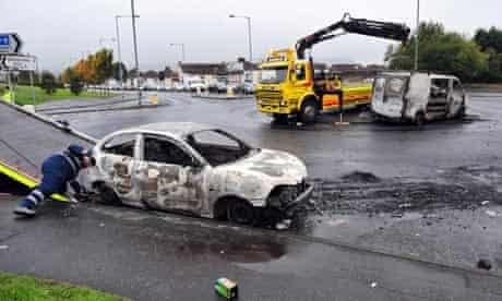 Clean up after rioting in Newtonabbey, Nothern Ireland