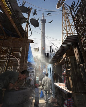 London Future images: Nelson looks down on a shanty town of climate refugees