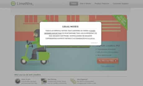 A legal notice on the LimeWire website warns users of an injunction against the filesharing site.