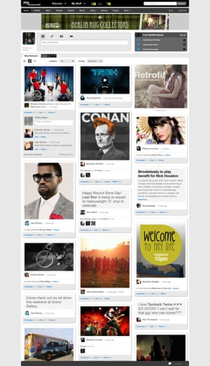 MySpace's new 'grid' layout option