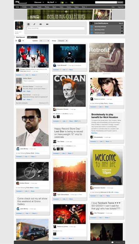 MySpace's new 'grid' layout option