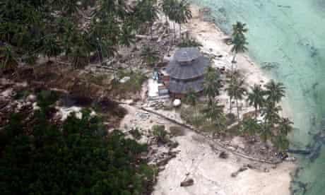 Devastated village following tsunami in Indonesia