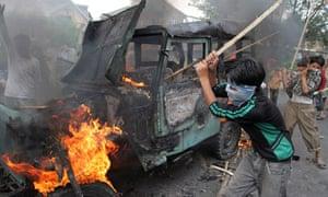Protesters in Srinagar, Kashmir, August 2010