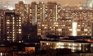 Council estate at night