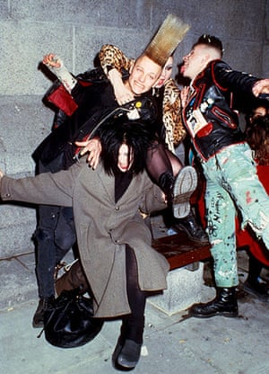 Doc Martens: Punks celebrating new years eve in Trafalgar Square, 1989