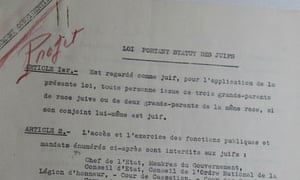 Petain's draft of the Statute against the Jews