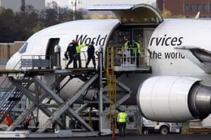 Cargo Terror: Investigators board a UPS jet at Philadelphia International Airport