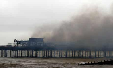 Hastings pier after being destroyed by fire