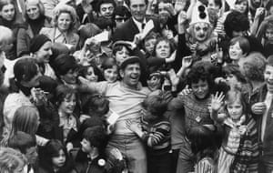 Norman Wisdom: Norman Wisdom amidst a crowd of young fans in Finsbury Park
