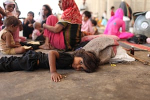 Sehwan Sharif Pakistan: A child from a flood affected community living in desperate conditions
